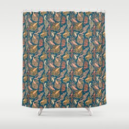 Navy and Orange Free Flow print Shower Curtain