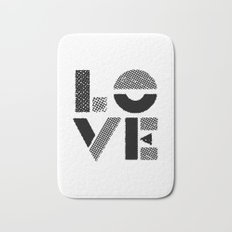 LOVE black-white contemporary minimalist vintage typography poster design home wall decor bedroom Bath Mat
