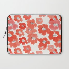 Camellia Flowers in Red Laptop Sleeve