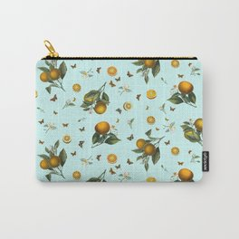 Oranges and Butterflies on Mint Carry-All Pouch