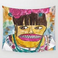 frida kahlo Wall Tapestries featuring Frida Kahlo by GOONS