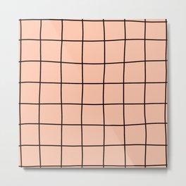 Simple Grid Pink Metal Print