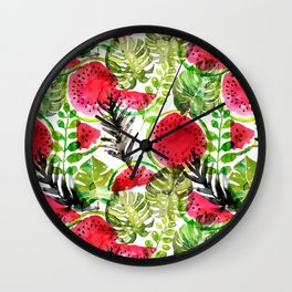 Summer watermelon and palm leaves watercolor pattern Wall Clock