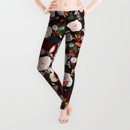 Blooms and Butterflies|Floral Pattern| Renee Davis Leggings
