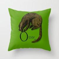 otter Throw Pillows featuring Otter by zuzia turek