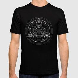 Sacred geometry black and white geometric art T-shirt