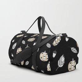 Elegant faux gold black white pumpkins leaves Duffle Bag