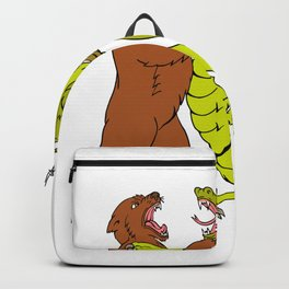 Chinese Dragon Fighting Grizzly Bear Drawing Color Backpack