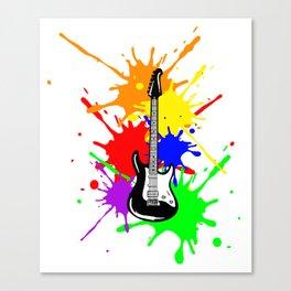 Electric Guitar On Paint Music Player Guitarist Rock Canvas Print