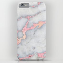 Rosegold Pink on Gray Marble Metallic Foil Style iPhone Case