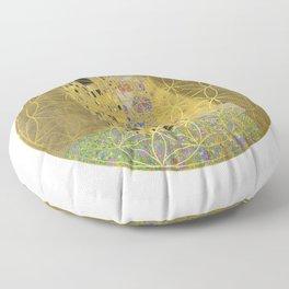The Kiss - Gustav Klimt - Golden Flower Of Life Floor Pillow