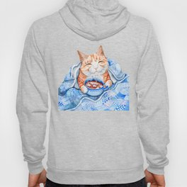 Happy Cat Drinking Hot Chocolate Hoody