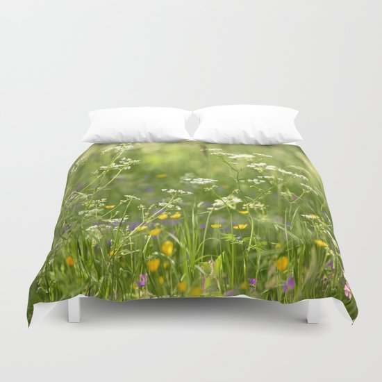 Green Summer Meadow  Duvet Cover
