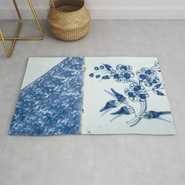 Old traditional Dutch blue Delftware tiles Rug