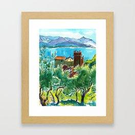 View of the sea and Monastery of Santa Croce, Liguria Framed Art Print