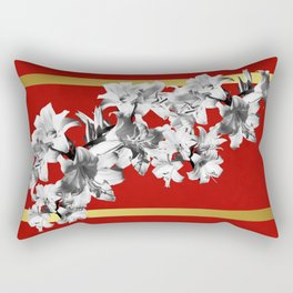 Lilies, Lily Flowers on Red Rectangular Pillow