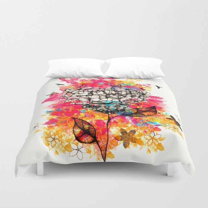 Abstract flower's face, colors Duvet Cover