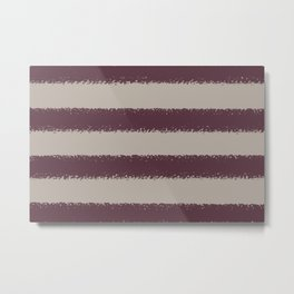 Deep Purple Taupe Gray Thick 4 Stripe Pattern 2021 Color of the Year Epoch and Fondue Metal Print