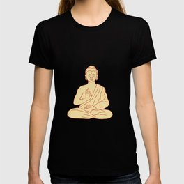 Gautama Buddha Sitting Lotus Position Drawing T-shirt
