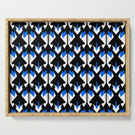 Edgy Black white Blue Pattern Serving Tray