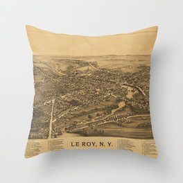 Aerial View of Le Roy, New York (1892) Throw Pillow