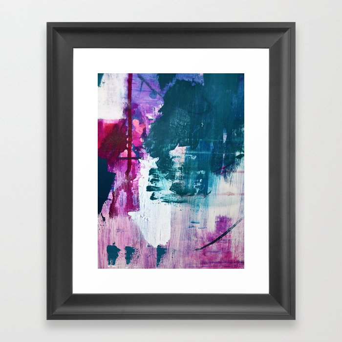 Complexity: a pretty abstract mixed-media piece in teal and purple by Alyssa Hamilton Art Gerahmter Kunstdruck