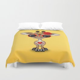 Red and Yellow Day of the Dead Sugar Skull Baby Giraffe Duvet Cover