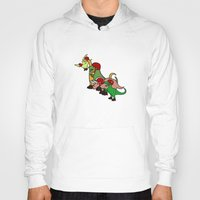 roller derby Hoodies featuring Roller Derby Dinosaurs by Jez Kemp