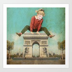 Parisian leapfrog  Art Print