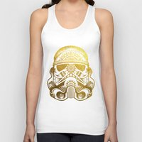 gold foil Tank Tops featuring Mandala StormTrooper - Gold Foil by Spectronium - Art by Pat McWain