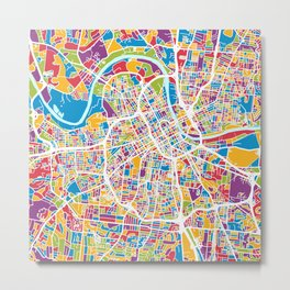 Nashville Tennessee City Map Metal Print