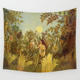 "Henri Rousseau "" Eve in the Garden of Eden"", 1906-1910 Wall Tapestry"