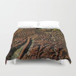 Antique Arts & Crafts era Wood Carving, wood block  Duvet Cover