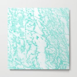 Modern abstract teal white marble pattern Metal Print
