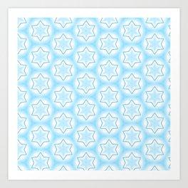 Shiny light blue winter star snowflakes pattern Art Print