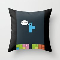 tetris Throw Pillows featuring Tetris by sEndro