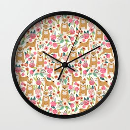 Shiba Inu floral dog must have gifts for shiba lovers florals dog breed Wall Clock