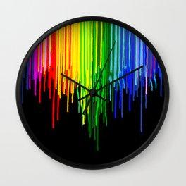 Rainbow Paint Drops on Black Wall Clock