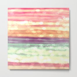 Whimsical Pastel Bokeh Stripes Metal Print