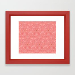 Boats on the Water Pattern Pink Framed Art Print