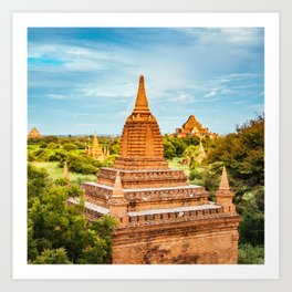 Sunlit Buddhist Temple in Burma Fine Art Print Art Print