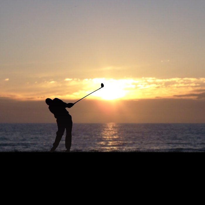 Playing Golf At Sunset Comforters
