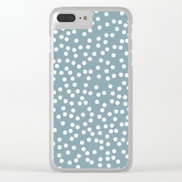 Dusty Blue and White Polka Dot Pattern Clear iPhone Case
