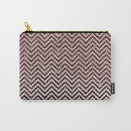 Chic modern black pink faux glitter chevron pattern Carry-All Pouch