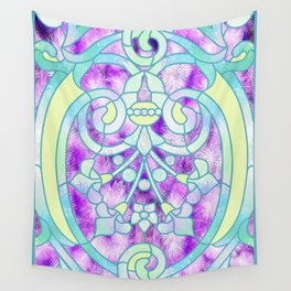Art Nouveau Aqua and Purple Batik Design Wall Tapestry