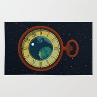 pocket Area & Throw Rugs featuring Cosmic Pocket Watch by badOdds