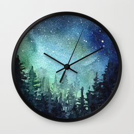 Galaxy Watercolor Space Night Sky Nebula Painting Aurora Wall Clock