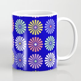 Pastel Flowers Pattern (On Blue) Coffee Mug