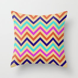 Multicolor Mid-Century Chevron Print Throw Pillow