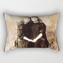 Vintage Girls In The Cattails Rectangular Pillow